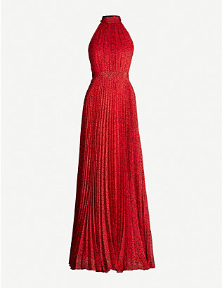 ALICE & OLIVIA: Kelissa halter-neck pleated printed crepe maxi dress
