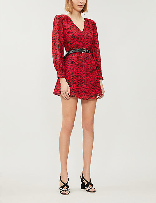 ALICE & OLIVIA Polly leopard-print crepe mini dress