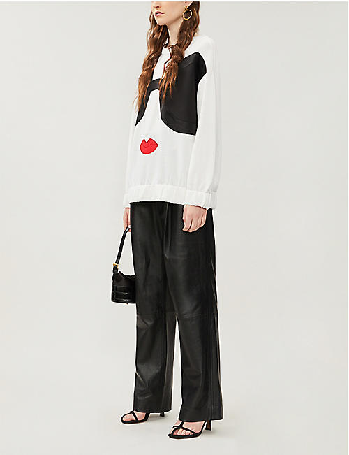 ALICE & OLIVIA Gleeson Staceface oversized stretch-wool jumper