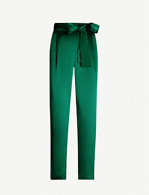 ALICE & OLIVIA Jessie high-rise straight satin trousers