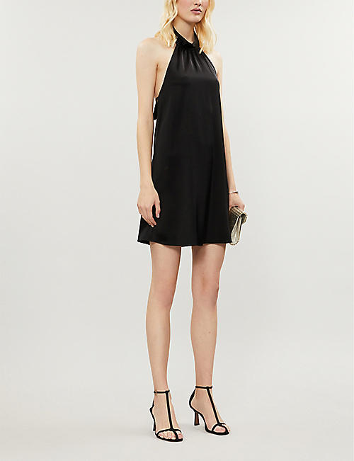 ALICE & OLIVIA Crystal halterneck woven mini dress