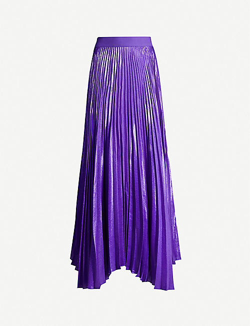 ALICE & OLIVIA Katz pleated silk-blend maxi skirt