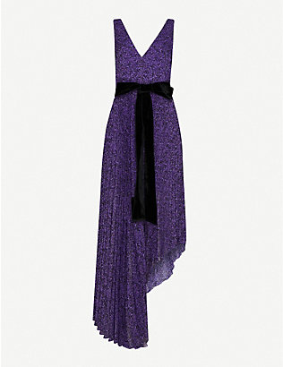 ALICE & OLIVIA: Aiden floral-print pleated crepe maxi dress