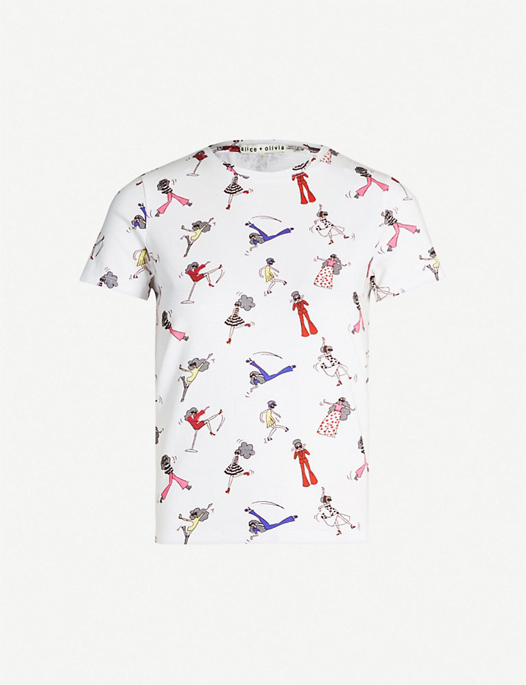 Alice And Olivia Rylan graphic-print cotton-jersey T-shirt