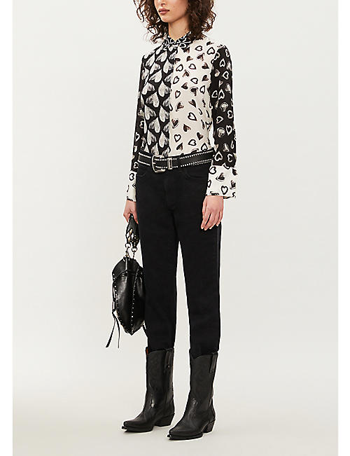 ALICE & OLIVIA Willa silk-crepe shirt