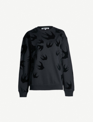 MCQ ALEXANDER MCQUEEN Swallow-flocked cotton-jersey sweatshirt