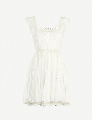 FREE PEOPLE: Verona ruffle-trimmed cotton mini dress