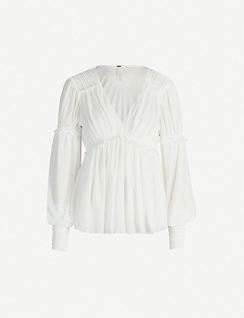 FREE PEOPLE Day Dreaming ruffled woven top