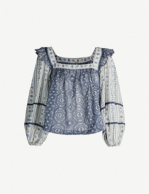 FREE PEOPLE Stroll Through the Meadow printed cotton blouse