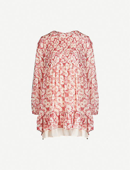 FREE PEOPLE Floral-print crepe mini dress