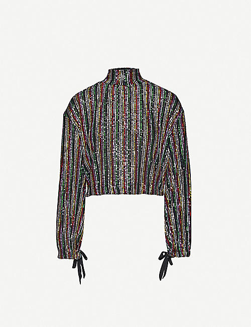 FREE PEOPLE Midnight City high-neck sequin-embellished top