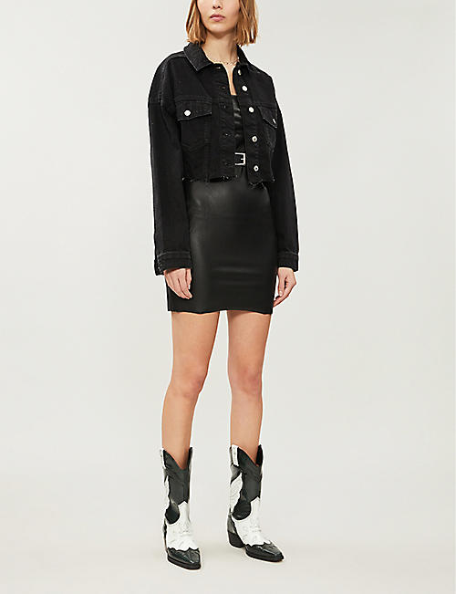 FREE PEOPLE Faux-leather mini dress