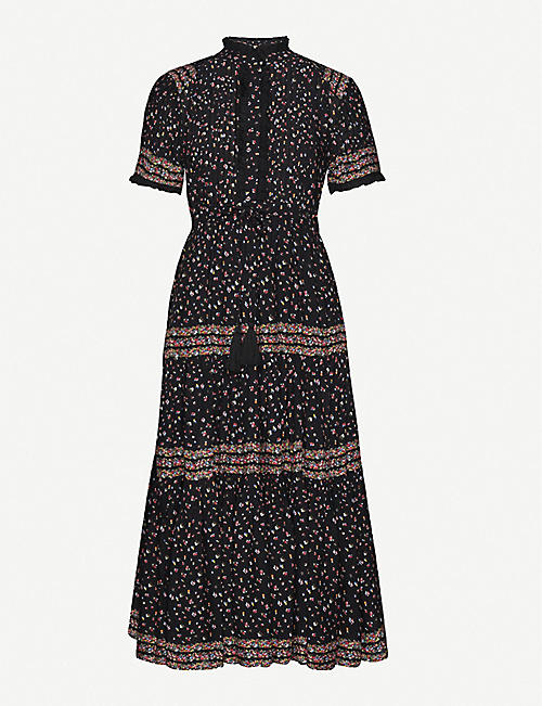 FREE PEOPLE: Rare Feeling high-neck floral-print woven midi dress
