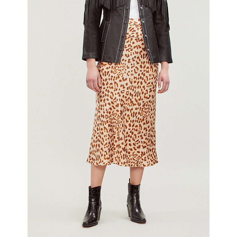 Free People Skirts NORMANI LEOPARD-PRINT SATIN SKIRT