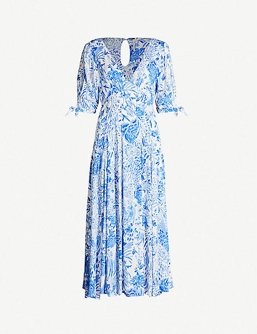 264b951ecce FREE PEOPLE Forever Always pleated floral-print crepe midi dress
