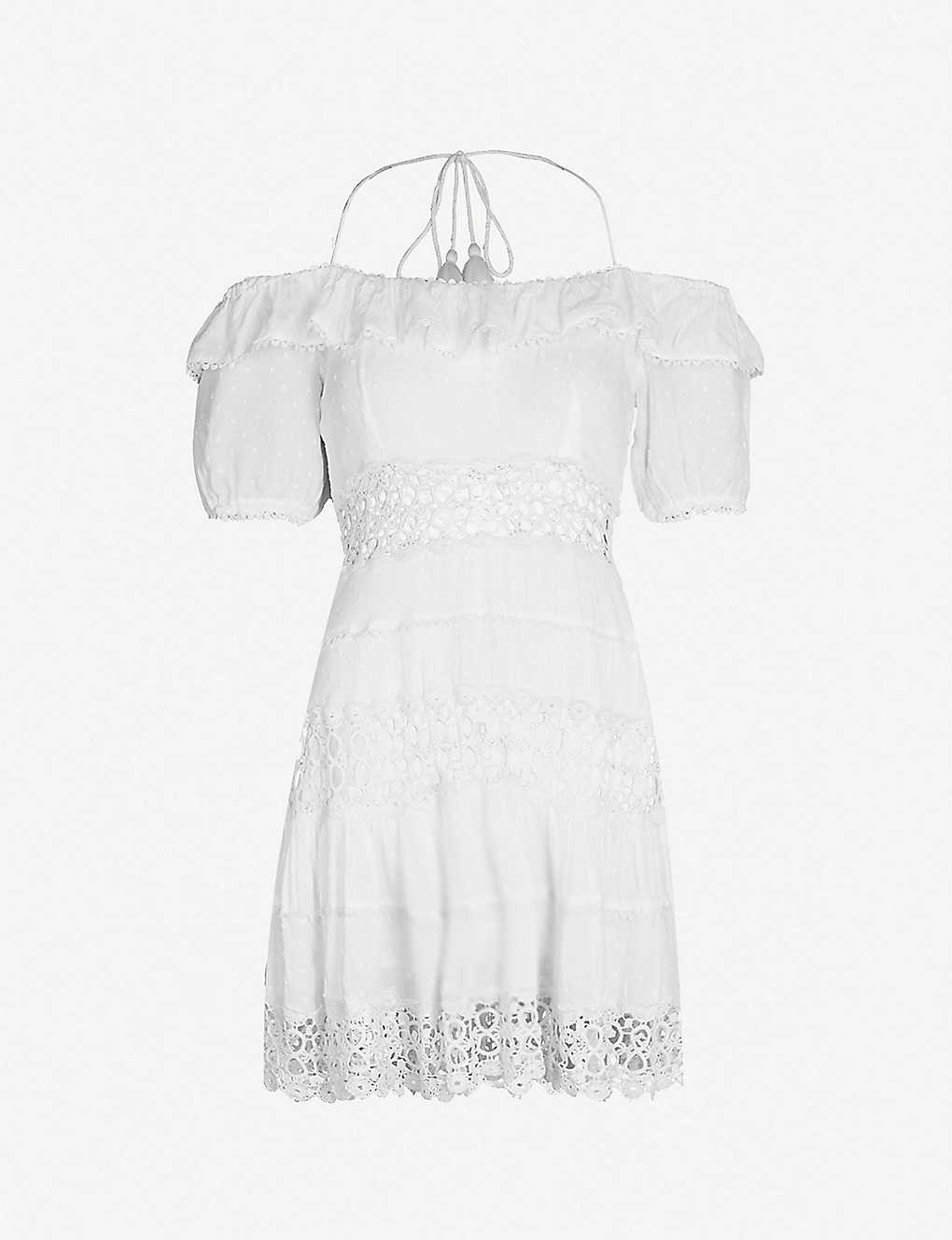 b774171db95 FREE PEOPLE - Cruel Intention cold-shoulder lace-panelled mini dress ...