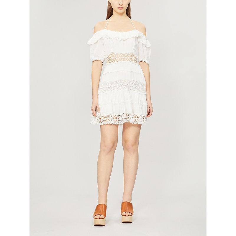 Free People Dresses CRUEL INTENTION COLD-SHOULDER LACE-PANELLED MINI DRESS