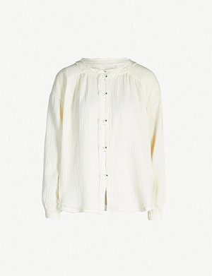 FREE PEOPLE Moving Mountains frilled-trim cotton blouse