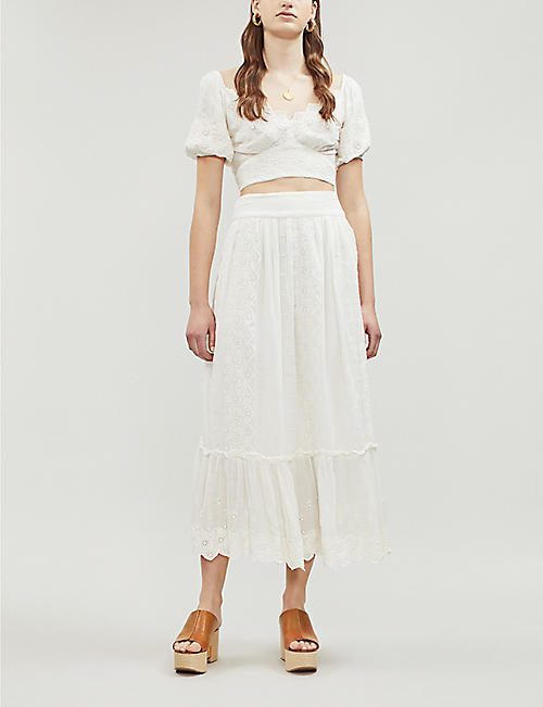 0099f160c8327 FREE PEOPLE Ella floral-lace top and skirt set