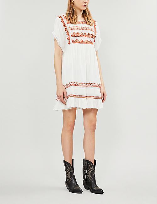 b55cdb021f FREE PEOPLE Sunrise Wanderer embroidered cotton mini dress