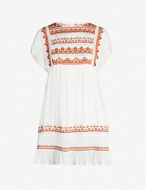 b12b4a7cd61 FREE PEOPLE Sunrise Wanderer embroidered cotton mini dress