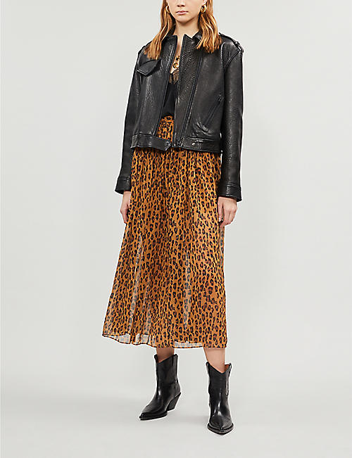 bec5418d8ee4 FREE PEOPLE Lydia leopard-print woven midi skirt