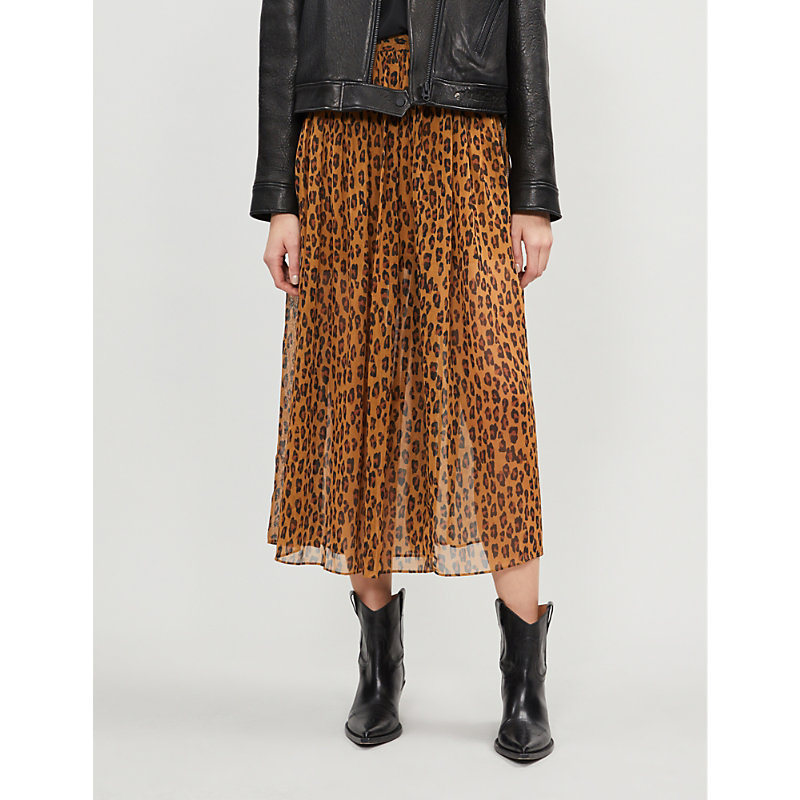 3225ad1987cb4 FREE PEOPLE | Lydia Leopard-Print Woven Midi Skirt | Goxip