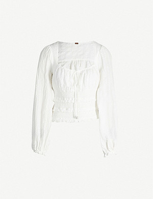 FREE PEOPLE Lolita V-neck cotton top