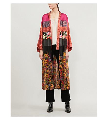 Free People Young Love Floral-Print Satin And Chiffon Kimono In Multi