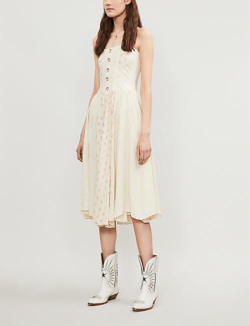 2b15f7844 FREE PEOPLE Amanda strapless cotton-gauze midi dress