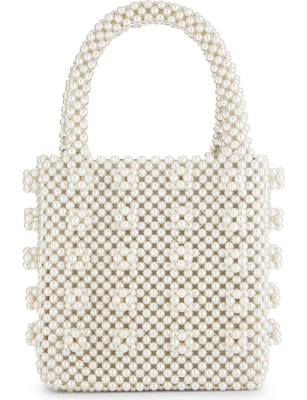 Antonia faux-pearl beaded tote - Cream ...