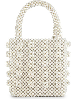 SHRIMPS Antonia faux-pearl beaded tote