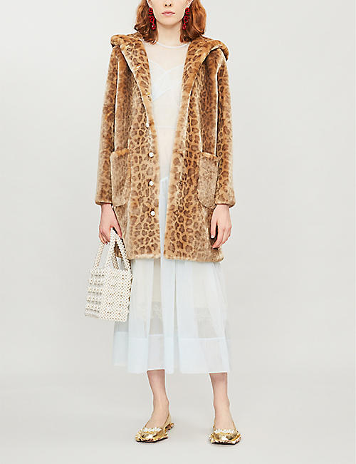 SHRIMPS Gloria leopard-print faux-fur coat