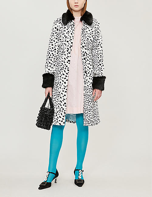 SHRIMPS Leo contrast-collar leopard-print faux-fur coat