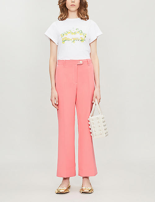 SHRIMPS Livia slogan-print cotton-jersey T-shirt