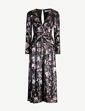 SELF-PORTRAIT Floral-pattern sequinned midi dress