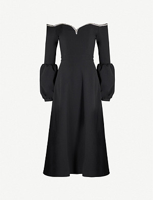 SELF-PORTRAIT Off-shoulder crepe midi dress