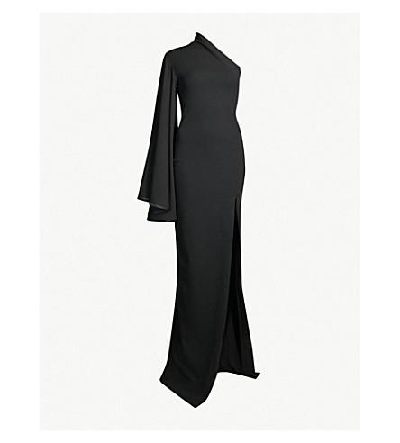 2e2e9d8797 SOLACE LONDON Lani one-shoulder crepe maxi dress (Black