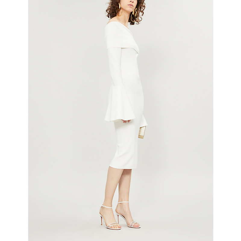 SOLACE LONDON | Mori Off-The-Shoulder Flared-Cuff Knitted Dress | Goxip