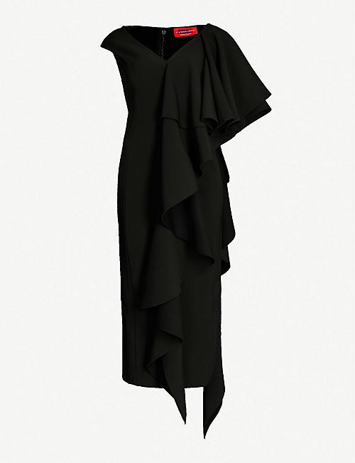 d8c0b90b SOLACE LONDON Alora ruffled asymmetric crepe dress