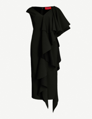 SOLACE LONDON Alora ruffled asymmetric crepe dress