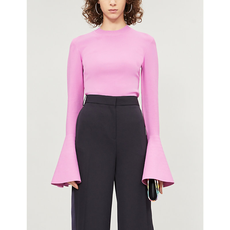 SOLACE LONDON | Moritz Flared-Cuff Knitted Top | Goxip