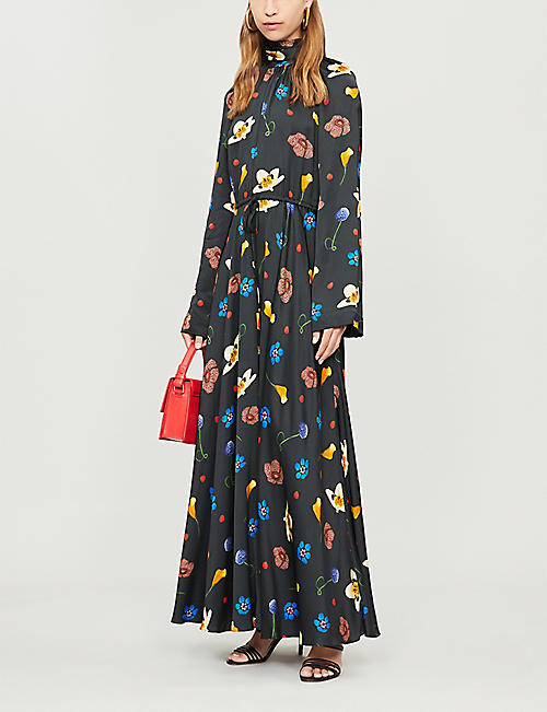 488787e507 SOLACE LONDON Printed high-neck long-sleeved maxi dress