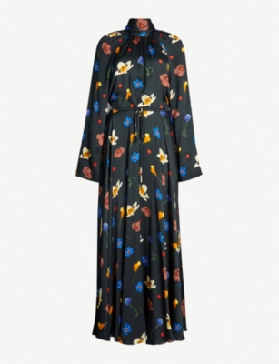 SOLACE LONDON Printed high-neck long-sleeved maxi dress