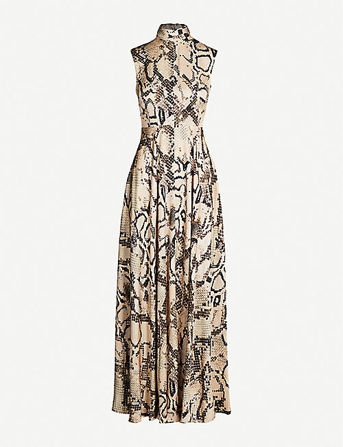 SOLACE LONDON Rhoda snake-print woven maxi dress