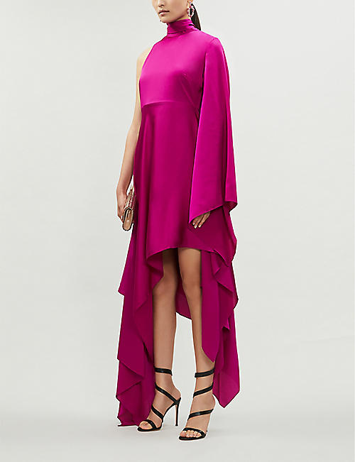 SOLACE LONDON Naida asymmetric satin maxi dress