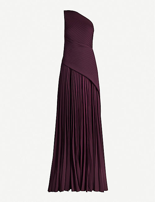 SOLACE LONDON Emelyne one-shoulder pleated maxi dress