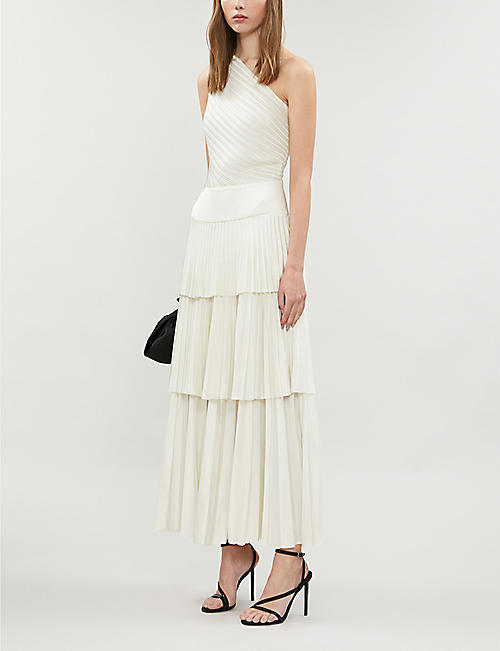 SOLACE LONDON Larrisa one-shoulder tiered pleated midi dress