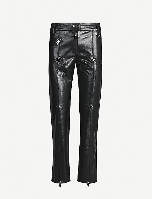 SHOREDITCH SKI CLUB: Hanbury straight leather trousers
