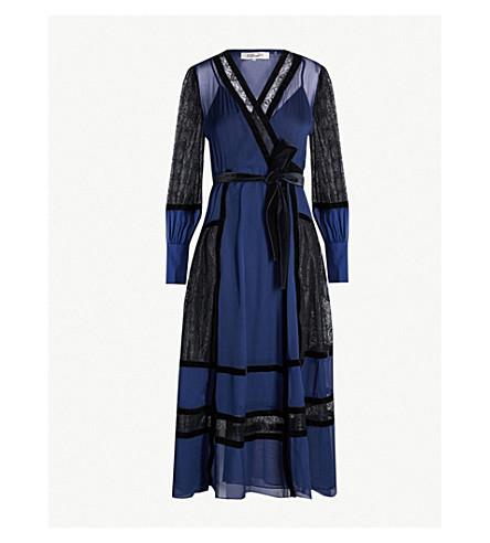7c5d6b413defc DIANE VON FURSTENBERG Forrest silk and velvet wrap dress (Navy black